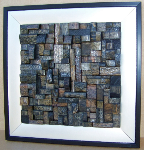 "Silver Creek (2010) (view1). Mixed woods, saw-cut, not sanded, stained, framed. Dim: 18"" x 18"""