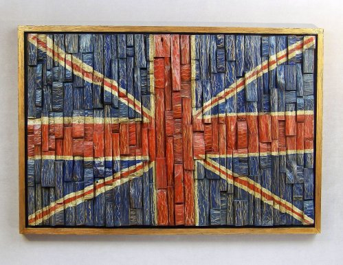 Union Jack wood art, contemporary wood wall art, office art, cottage decoration
