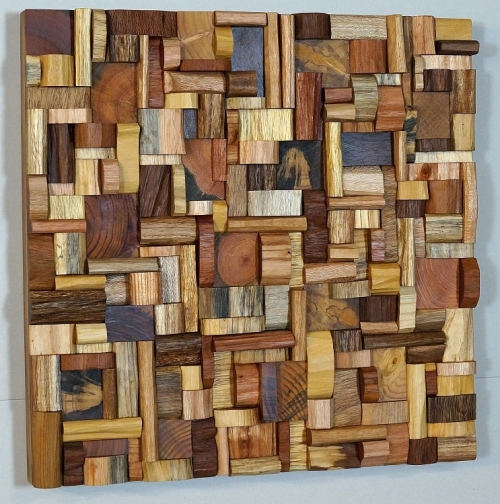 Wooden art, eco art, wooden blocks panel, wood art