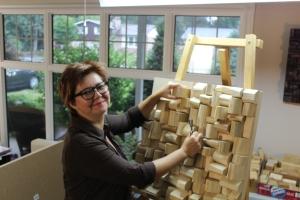 Olga Oreshyna, wooden blocks panel, eccentricity of wood, recycled wood art