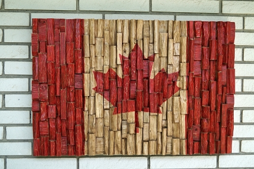 Canadian flag wood art, recycled wood art, wood wall art