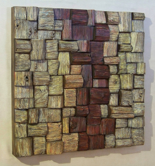 Wood Art. Contemporary wood Wall Art. Eco Art, wooden blocks panel