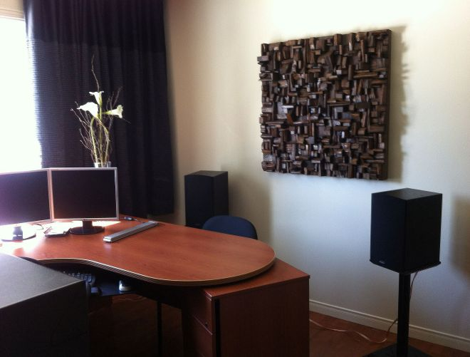 Custom Acoustic Treatment, an outstanding wood blocks art piece makes a statement in your space and eliminates acoustical problems at the same time.