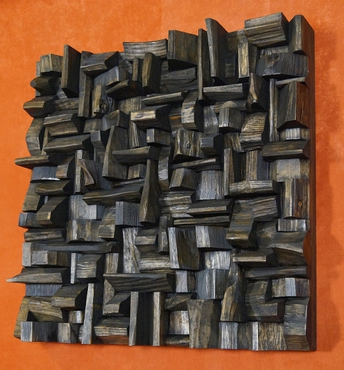 acoustic wood panel, sound diffuser, art of acoustic treatment, wooden blocks panel, recycled wood art