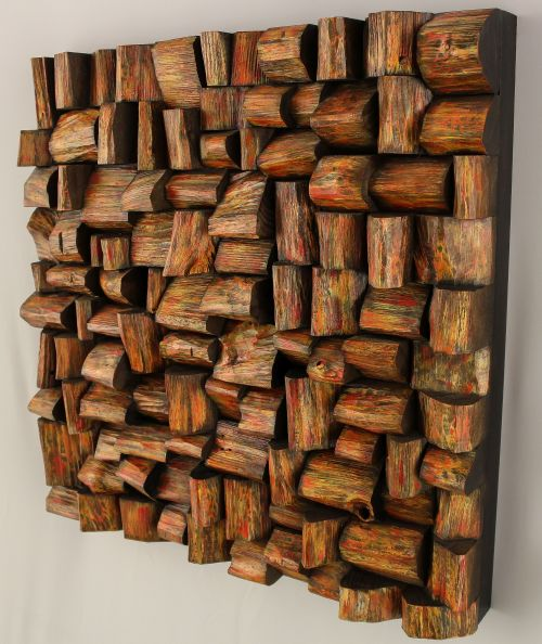 wood sound diffuser, wood art acoustic panel, wooden blocks panel