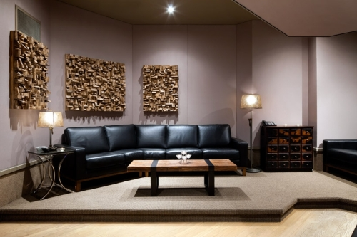 interior design, acoustic treatment, wood sound diffusers, recording studio, acoustic panels