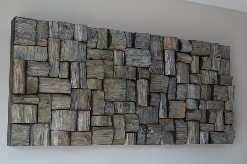 wooden blocks acoustic panel, contemporary wood wall art, recycled wood art