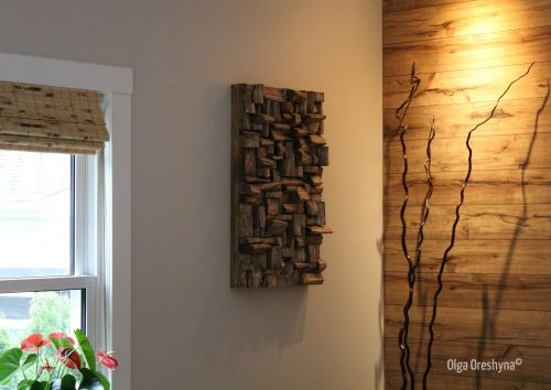 wood interior design ideas, wood wall art, wood art, wood sound diffuser, acoustic panel, acoustic treatment