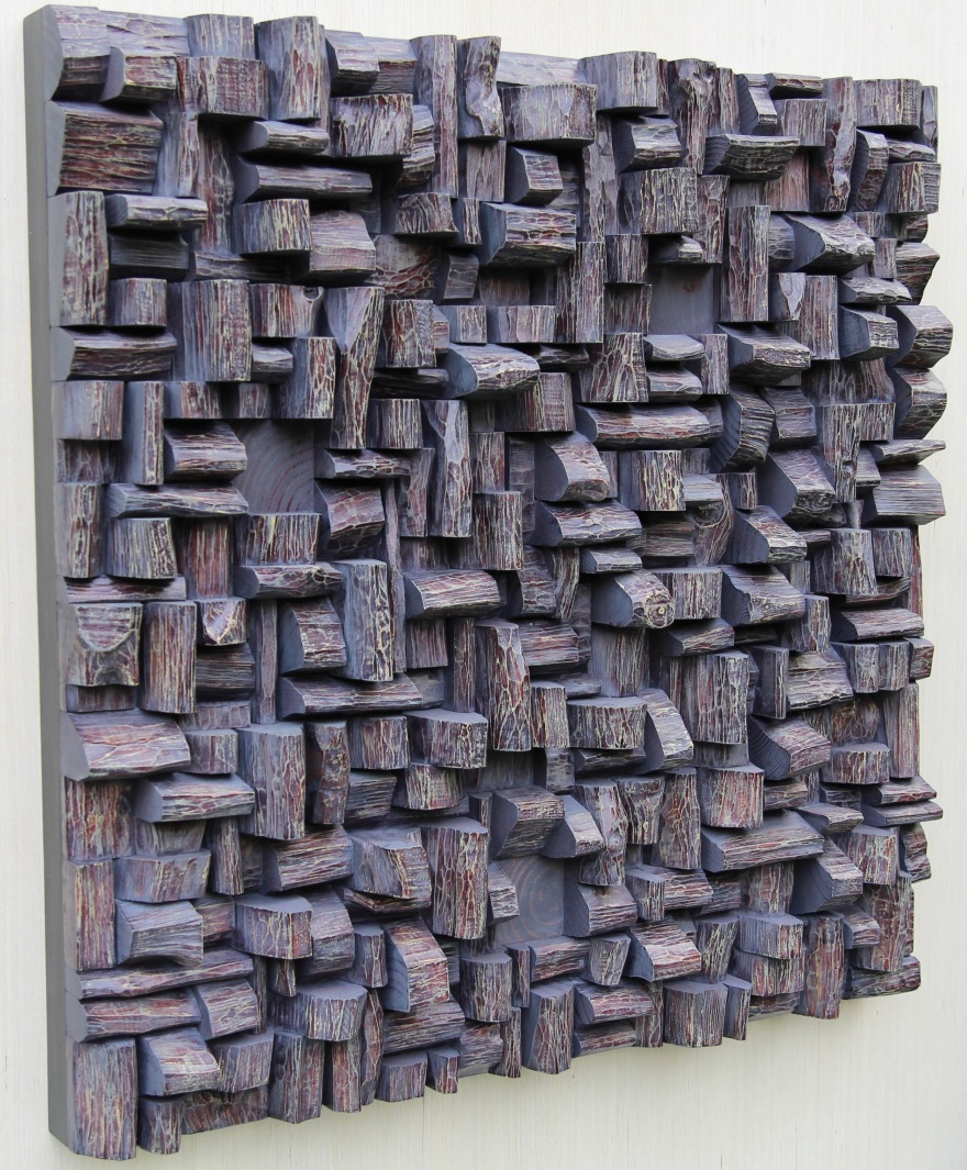 Contemporary Wood Wall Sculpture, an eye-catching work of Art will make a statement while improving sound quality in your space.
