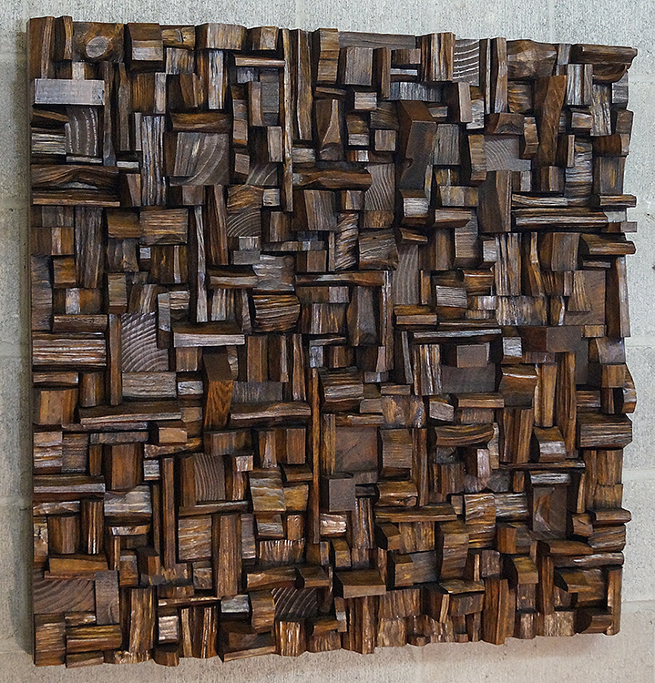 Acoustic art eccentricity of wood for Wooden work on wall