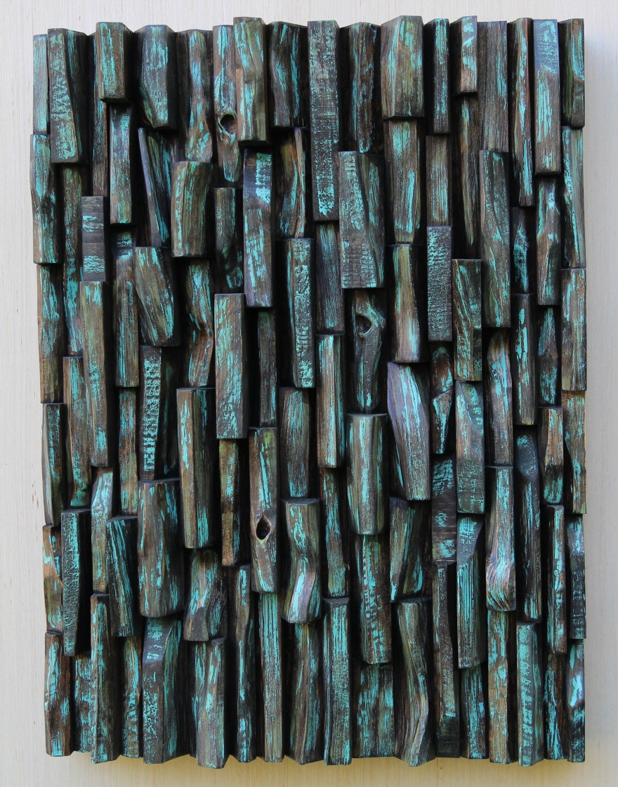 TAVES2017, sound diffuser, acoustic panel, wood art, abstract painting on wood, wood assemblage, wood art, interior design, acoustic treatment, home decor, wood wall art ideas,