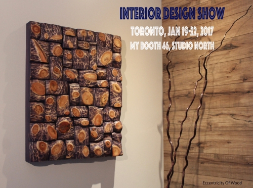 interior design show Toronto, wood interior design, living well, interior design ideas, wall decor, wall art ideas, wood blocks panel, nature design, wood art