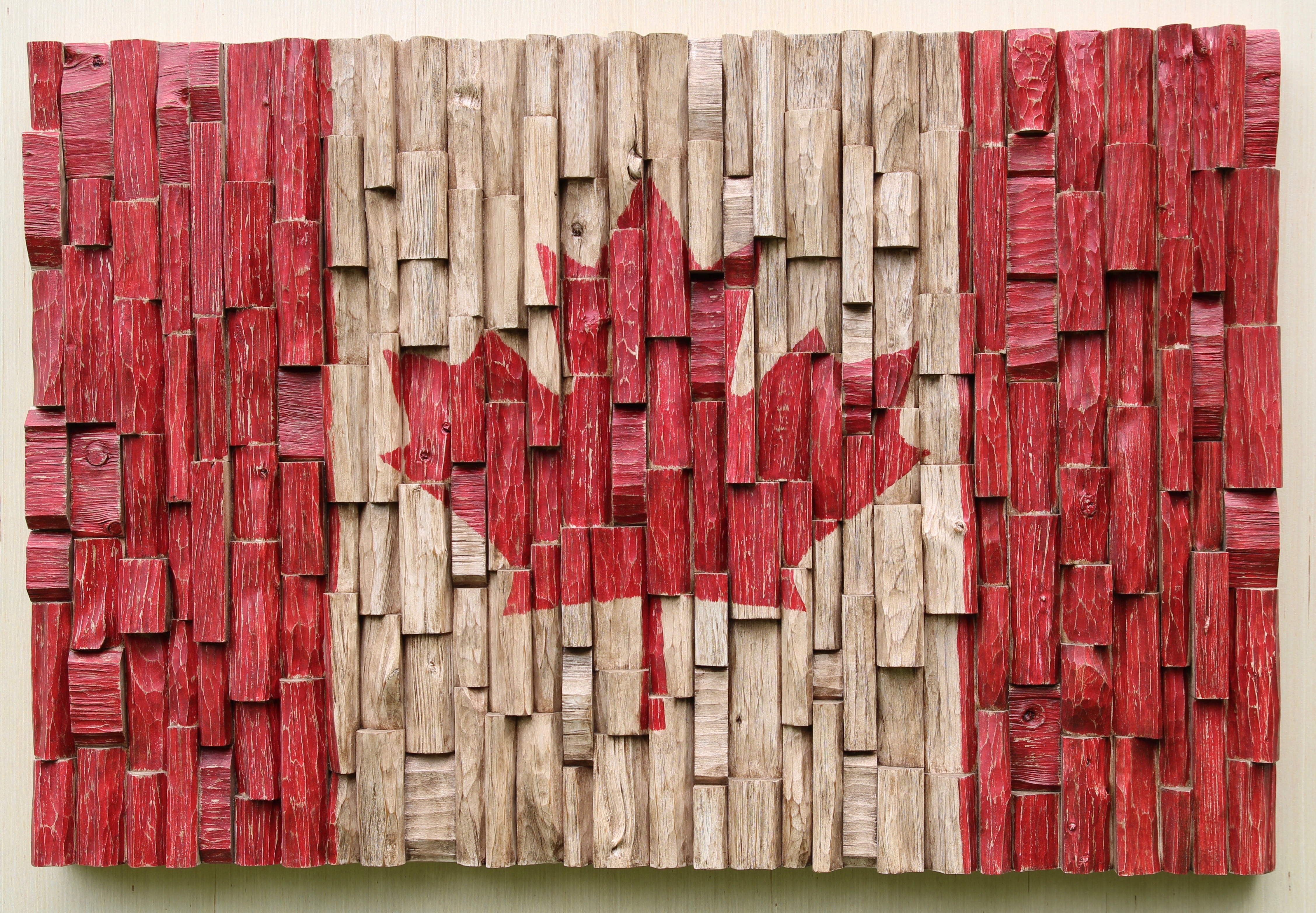 Canada 150, Canadian Flag Recycled Wood Art, 3D Canadian Flag,